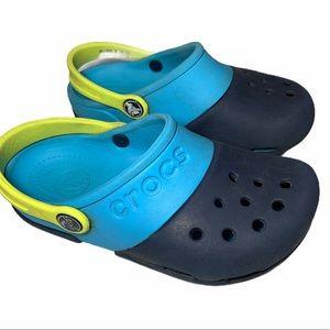 Crocs Light Dark Blue Color Block Sz 12